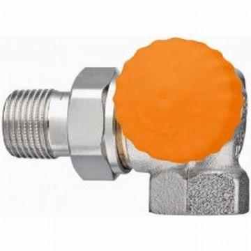 "Heimeier Eclipse afc radiatorafsluiter 1/2"" dubbel haaks rechts, oranje"