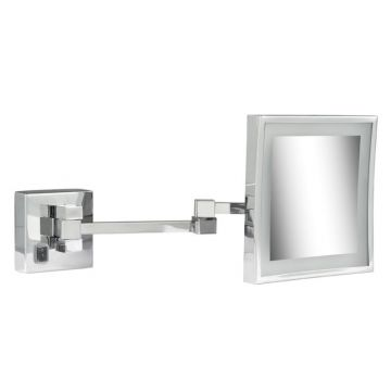 Geesa Mirror make-up spiegel met LED-verlichting en 2 armen en 3x vergrotend 20,5x20,5 cm, chroom