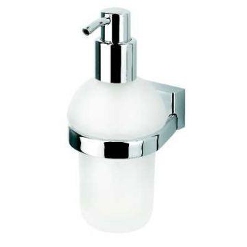 Geesa Bloq zeepdispenser met matglazen inzet 200ml, chroom