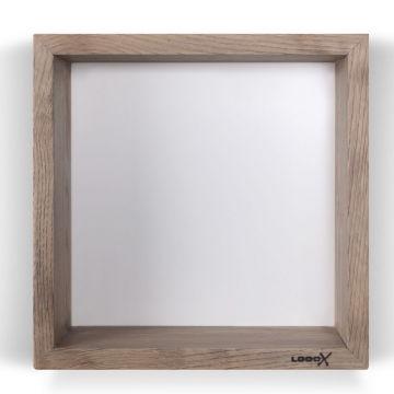 LoooX Wood Box massief eiken box met achterplaat 30x30x10 cm, old grey/matwit