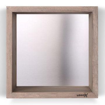 LoooX Wood Box eiken opbouwnis vierkant 30x30x10 cm met achterplaat, rvs geborsteld old grey