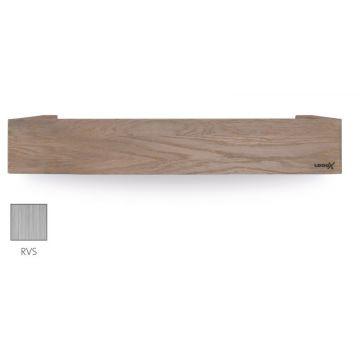 LoooX Wood Shelf Box opbergplank met RVS bodemplaat 60 cm, oId grey/rvs geborsteld