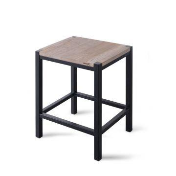 Looox Wood Collection douche stoel 35x30x45, eiken-mat zwart