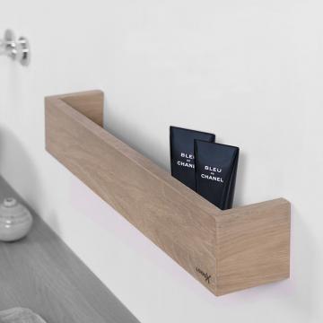 LoooX Wood Shelf Box opbergplank met RVS bodemplaat 30 cm, old grey/rvs geborsteld