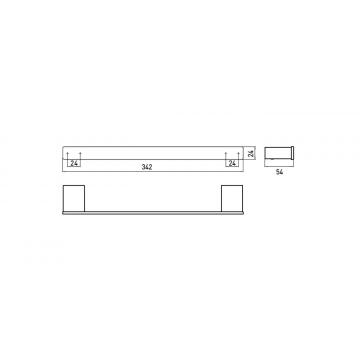 Emco Loft badgreep 2,4 x 34,2 x 5,4 cm, chroom