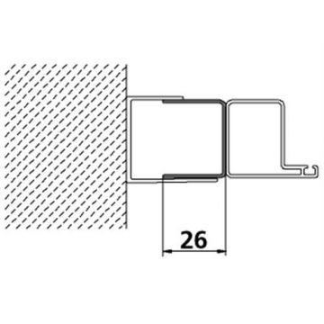 Kermi Ibiza verbredingsprofiel voor draaideur, zilver mat