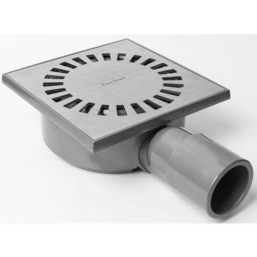 Easy Drain Aqua Compact vloerput 15x15cm zijuitlaat kunststof, rvs geborsteld