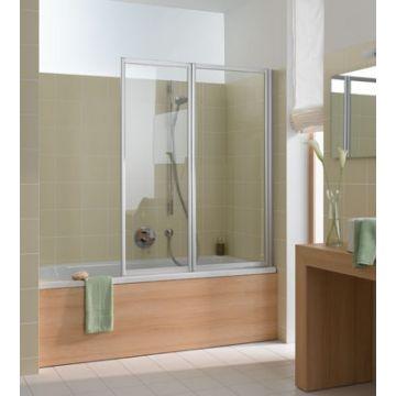 Kermi Vario badklapwand 2-delig 115 cm, parelglas, matzilver-kunststof glas