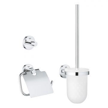 GROHE Essentials toiletaccessoireset met toiletborstel en houder, toiletrolhouder en handdoekhaak, QuickFix, chroom