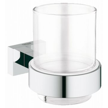 GROHE Essentials Cube houder met glas, chroom