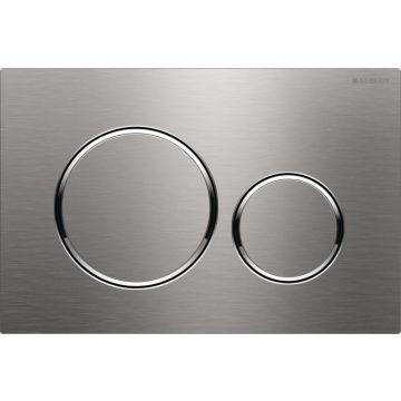 Geberit Sigma20 bedieningspaneel, plaat geborsteld RVS, knoppen geborsteld RVS, ringen gepolijst RVS