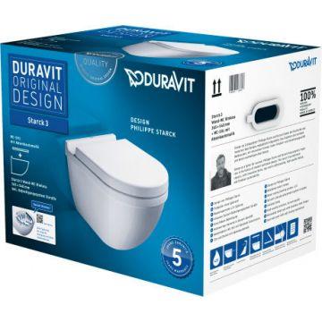 Duravit Starck 3 hangend toilet pack rimless diepspoel inclusief toiletzitting, wit
