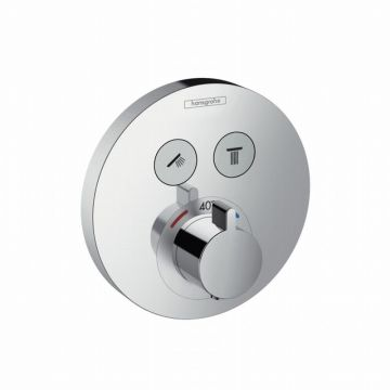 Hansgrohe ShowerSelect S afbouwset voor ééngreeps inbouw thermostaat met stopkraan voor 2 douchefuncties, chroom
