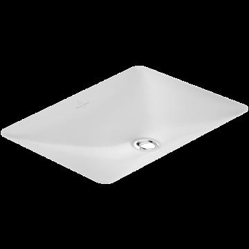 Villeroy & Boch Loop & Friends onderbouwwastafel rechthoek 54x34 cm zonder kraangat zonder overloop Ceramicplus, wit alpin