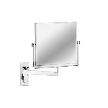 Geesa Mirror make-up spiegel met 1 arm en 3x vergrotend 19x19 cm, chroom