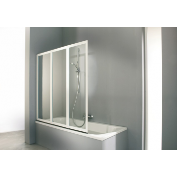 Hüppe Combinett badkuipwand 3-delig 140x140cm, zilvermat/helder glas