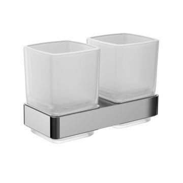 Emco Loft dubbele glashouder met 2 glazen, chroom