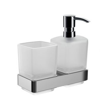 Emco Loft wandhouder met glas en zeepdispenser, chroom
