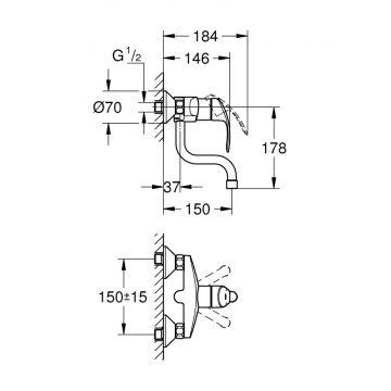 GROHE Eurosmart wand keukenkraan met onderuitloop 150 mm., chroom