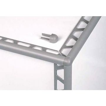 Schlüter Rondec buitenhoek 8 mm, aluminium glans, wit