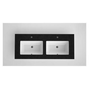 Bruynzeel Miko dubbele wastafel met granieten blad en keramische onderbouwkommen met 2 kraangaten 121 x 51 x 2 cm, zwart/wit