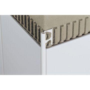 Schlüter Rondec buitenhoek 60 mm, aluminium glans, wit