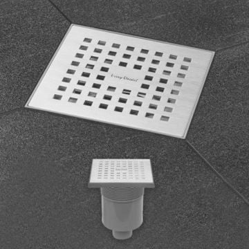 Easy Drain Aqua Quattro MSI-3 vloerput  15x15cm   onderuitlaat kunststof, geborsteld rvs