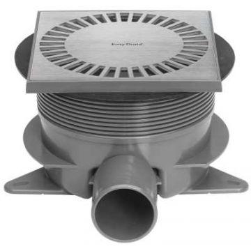 Easy Drain Aqua Brilliant vloerput 15x15cm zijuitlaat + onderuitlaat, rvs geborsteld