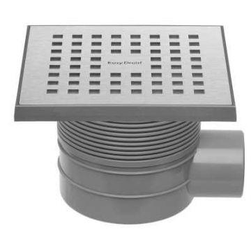 Easy Drain Aqua Quattro MSI vloerput  15x15cm   zijuitlaat kunststof, geborsteld rvs