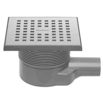 Easy Drain Aqua Quattro MSI-6 vloerput  15x15cm   zijuitlaat kunststof, geborsteld rvs