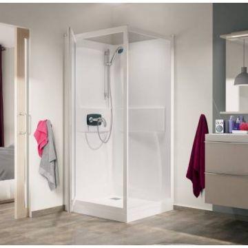 Kinedo Kineprime cabine 90x208 draaideur+thermostaat douchebak 18cm, wit-helder