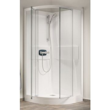Kinedo Kineprime kwartr.cabine 90 draaid+thermostaat douchebak 18cm, wit-helder