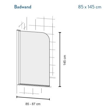 Bruynzeel Cilo badwand 1-delig 85x145 cm, aluminium-helder veiligheidsglas