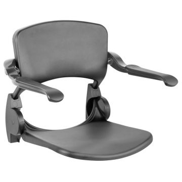 Linido ergonomische douchezitting opklapbaar met rugsteun en armleggers, antraciet