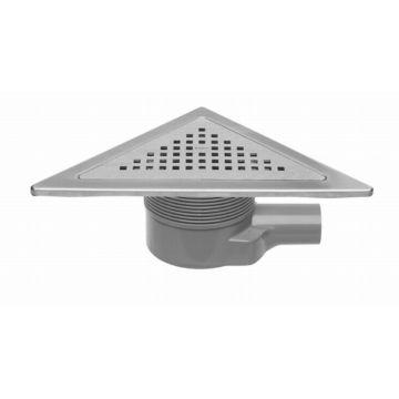 Easy Drain Aqua Plus Delta vloerput driehoekig met RVS afwerkdeel met RVS rooster en zijuitlaat 24x24cm inbouwdiepte 64-100mm met waterslot 50 tot 25mm AQUA+DE-MSI6