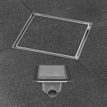 Easy Drain Aqua Plus Quattro tegel vloerput 15 x 15 cm. met rooster msi, rvs geborsteld