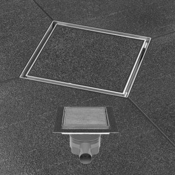 Easy Drain Aqua Plus Quattro tegel vloerput 15 x 15 cm. met rooster msi-6, rvs geborsteld