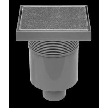 Easy Drain Aqua Quattro tegel vloerput 15 x 15 cm. met rooster msi-1, rvs geborsteld