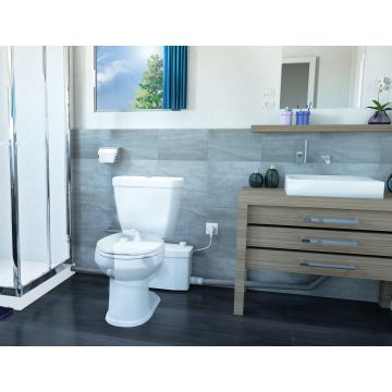 Sanibroyeur Saniplus fecaliënvermaler en pompsysteem Saniplus voor toilet, bidet, wastafel en douche 512x181x270mm inlaatzijde 1xDN100+3xDN40 wit 005047