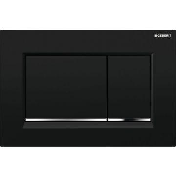 Geberit Sigma30 bedieningspaneel 2-knops 24,6 x 16,4 x 1 cm, plaat zwart, knoppen zwart, ringen glans-chroomkleurig