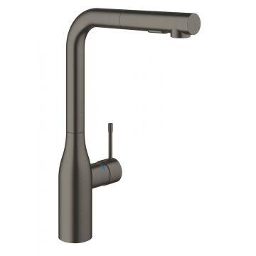 GROHE Essence new keukenkraan l-uitloop dual spray, hard graphite geborsteld