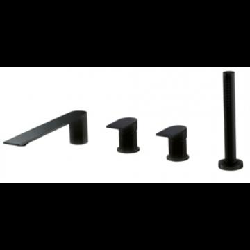Sub 200 4-gats badkraan, mat zwart