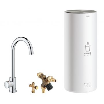 GROHE Red Mono kokendwaterkraan C-uitloop & 7 liter combi boiler, energielabel A, kinderbeveiliging, chroom