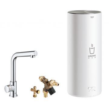 GROHE Red Mono kokendwaterkraan L-uitloop & 7 liter combi boiler, energielabel A, kinderbeveiliging, chroom