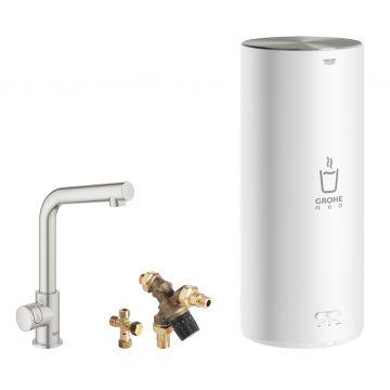 GROHE Red Mono kokendwaterkraan L-uitloop & 7 liter combi boiler, energielabel A, kinderbeveiliging, SuperSteel