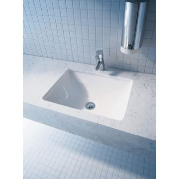 Duravit Starck 3 inbouw wastafel 49x40 zonder kraangat, wit