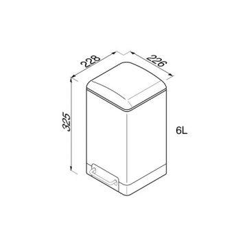 Geesa pedaalemmer vierkant 6l softclose, rvs gepolijst