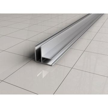 Sub chroom hoekprofiel 90 gr. tbv glaswand 1 cm lengte 200 cm
