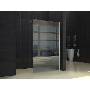 Wiesbaden inloopdouche met muurprofiel NANO glas 110x200x1 cm, chroom