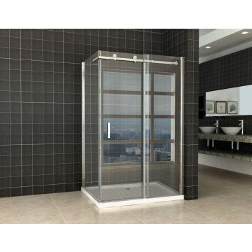 Wiesbaden douchedeur 120 cm met zijwand 200x0,8 cm NANO glas, chroom